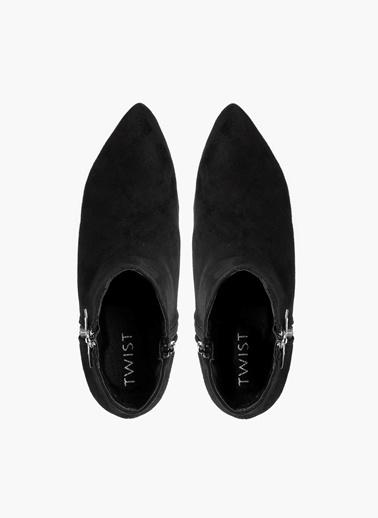 Twist Slogan Ve Kristal Taş Detaylı Çorap Form Bot Siyah